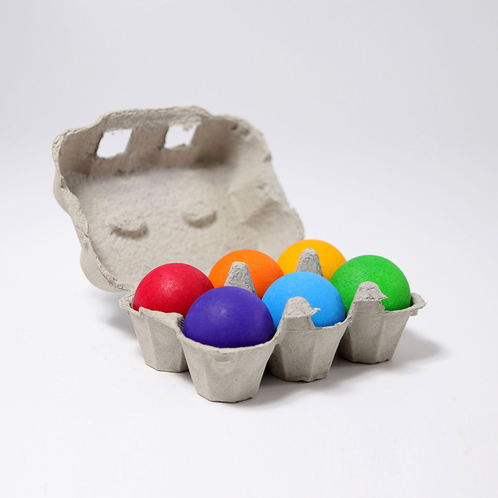 grimms wooden rainbow balls set of 6