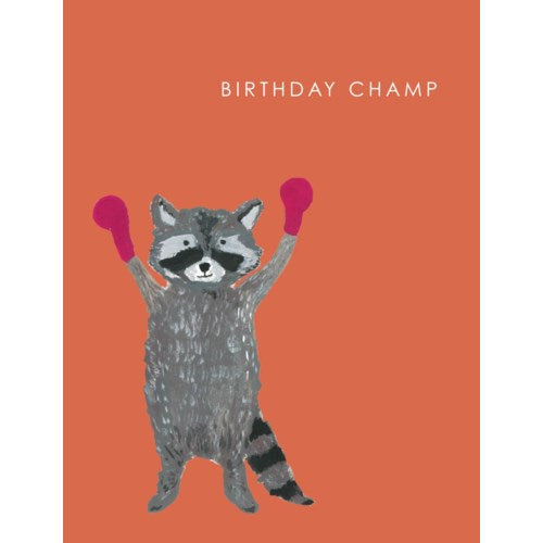 Birthday Champ Raccoon Card