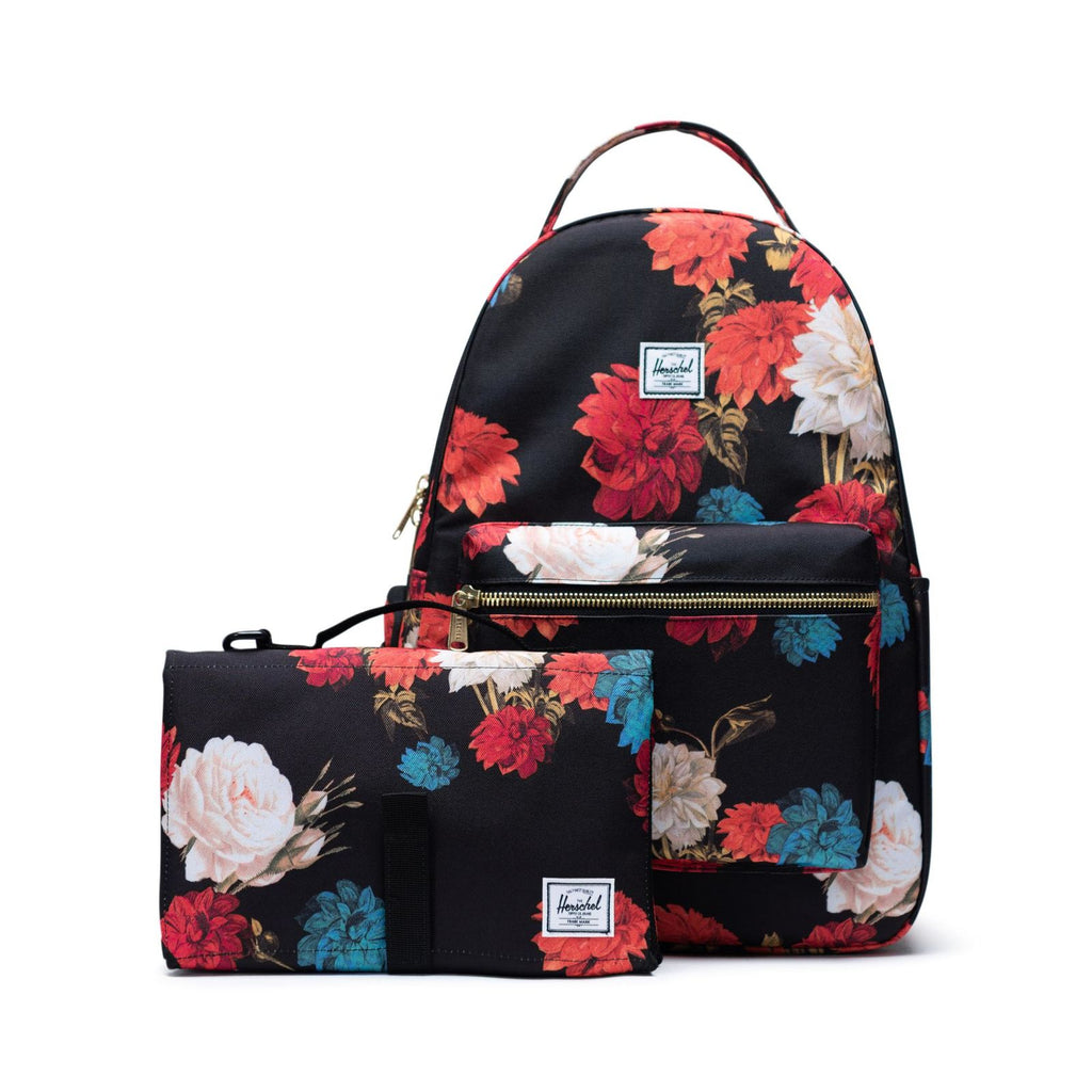 herschel supply co nova sprout diaper bag vintage floral black