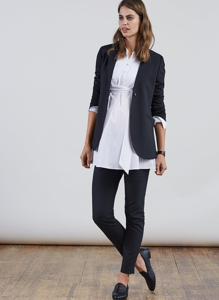 isabella oliver althea tailored maternity blazer black model