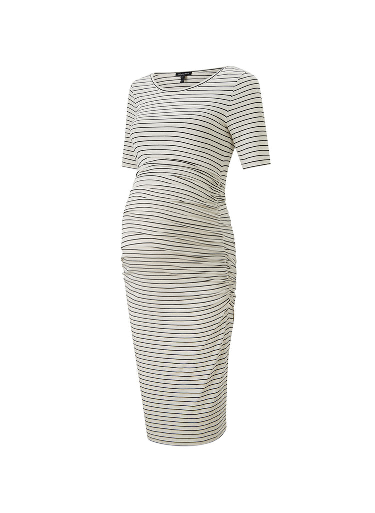 Jamie T-Shirt Dress - Ivory & Black Stripe