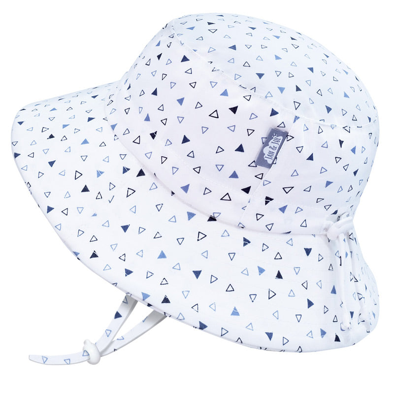 Grow With Me UPF 50+ Cotton Bucket Sun Hat - Triangles