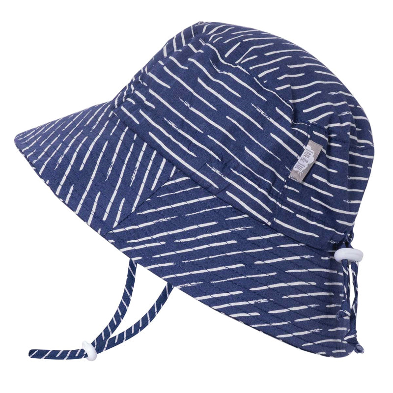 Grow With Me UPF 50+ Cotton Bucket Hat - Navy Waves