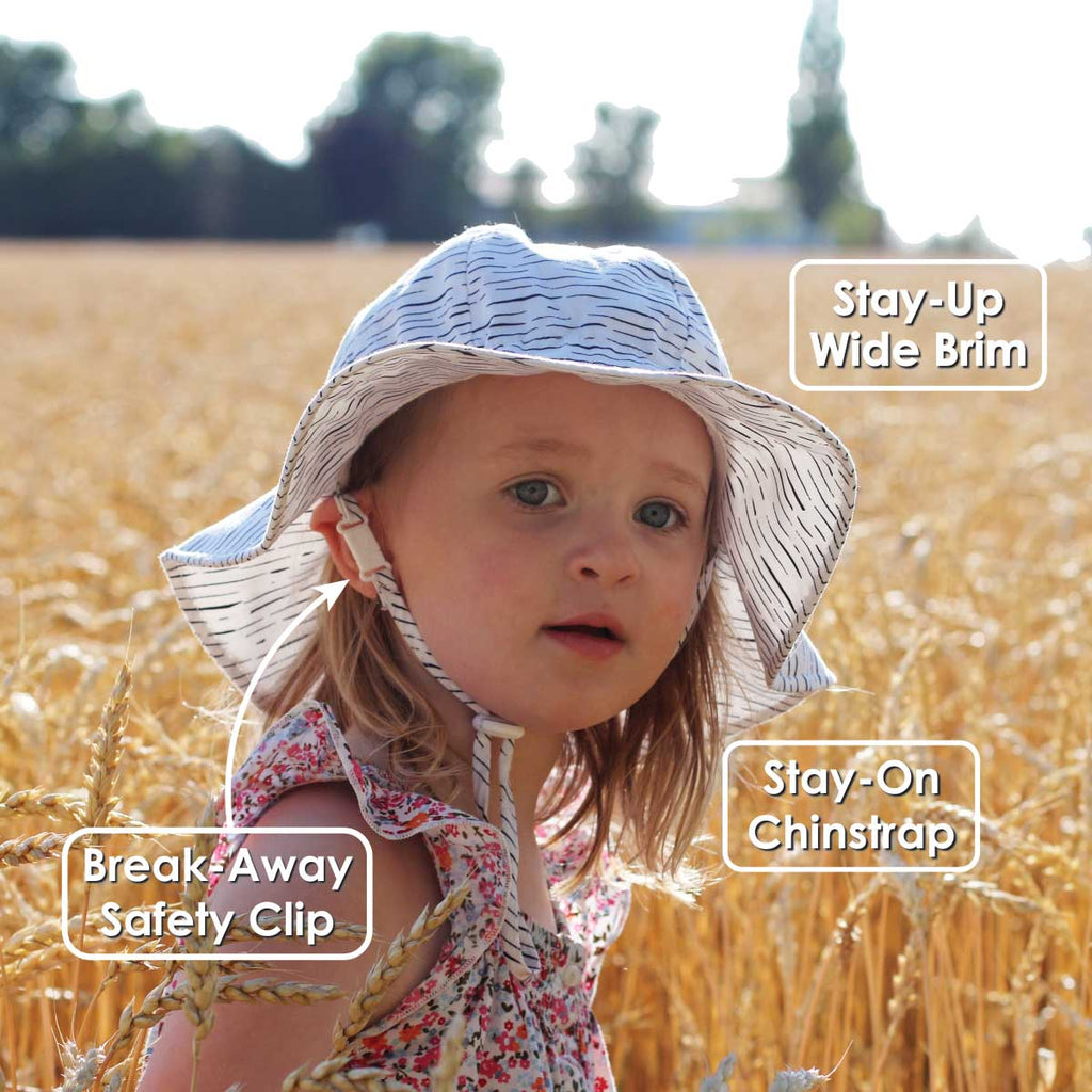 Grow With Me UPF 50+ Cotton Floppy Sun Hat - Blue Stripes