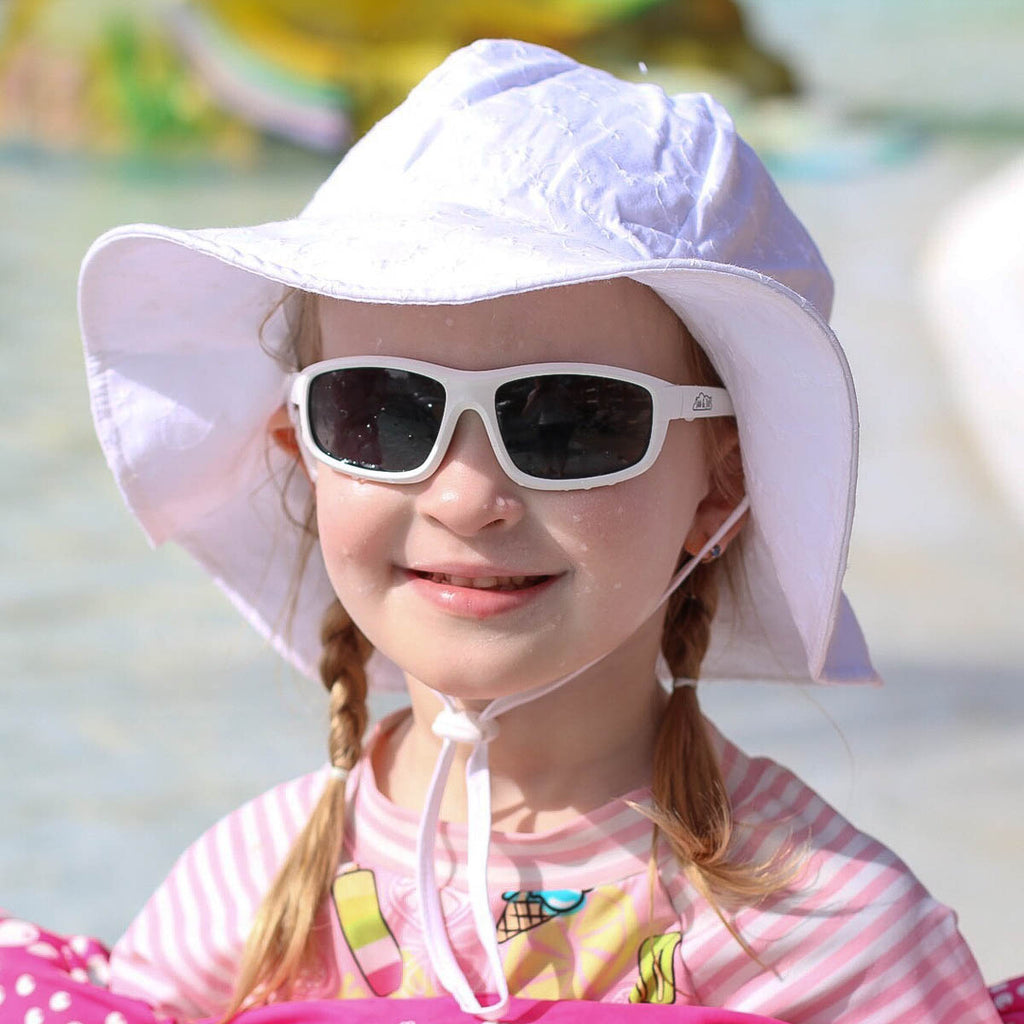 Grow With Me UPF 50+ Cotton Sun Hat - White Eyelet