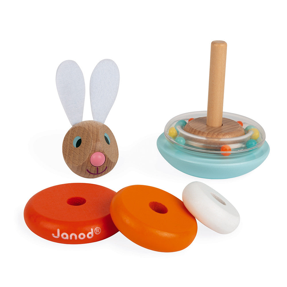 janod stackable roly-poly rabbit carrot pieces