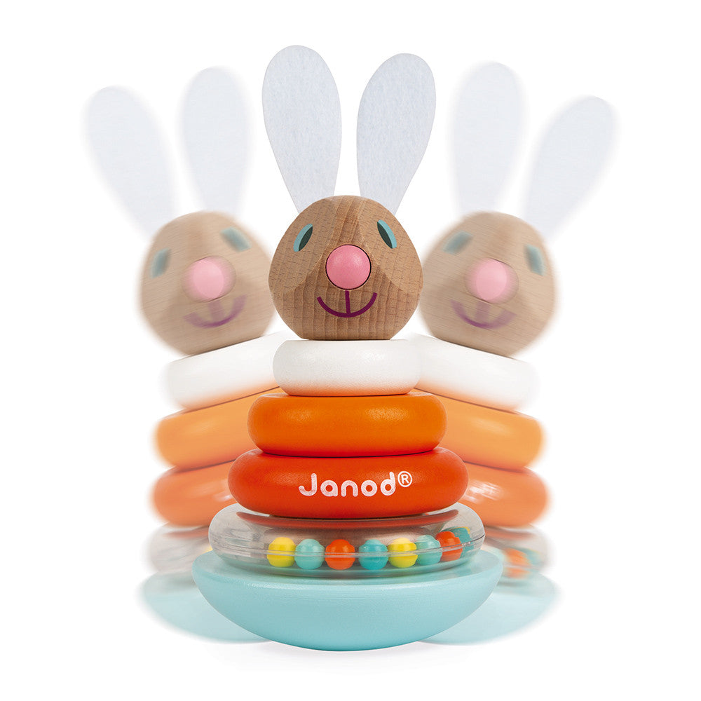 janod stackable roly-poly rabbit carrot wobble