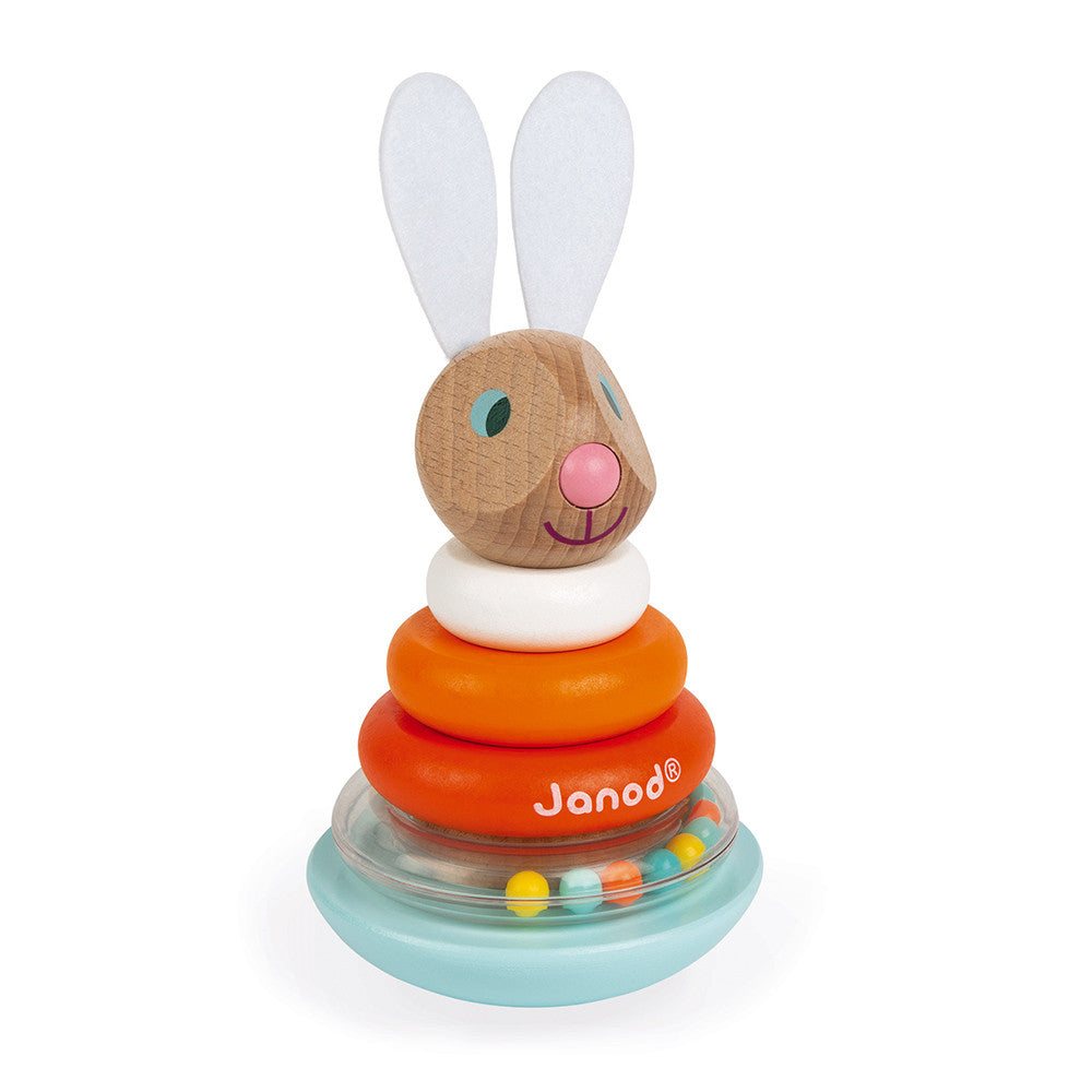 janod stackable roly-poly rabbit carrot