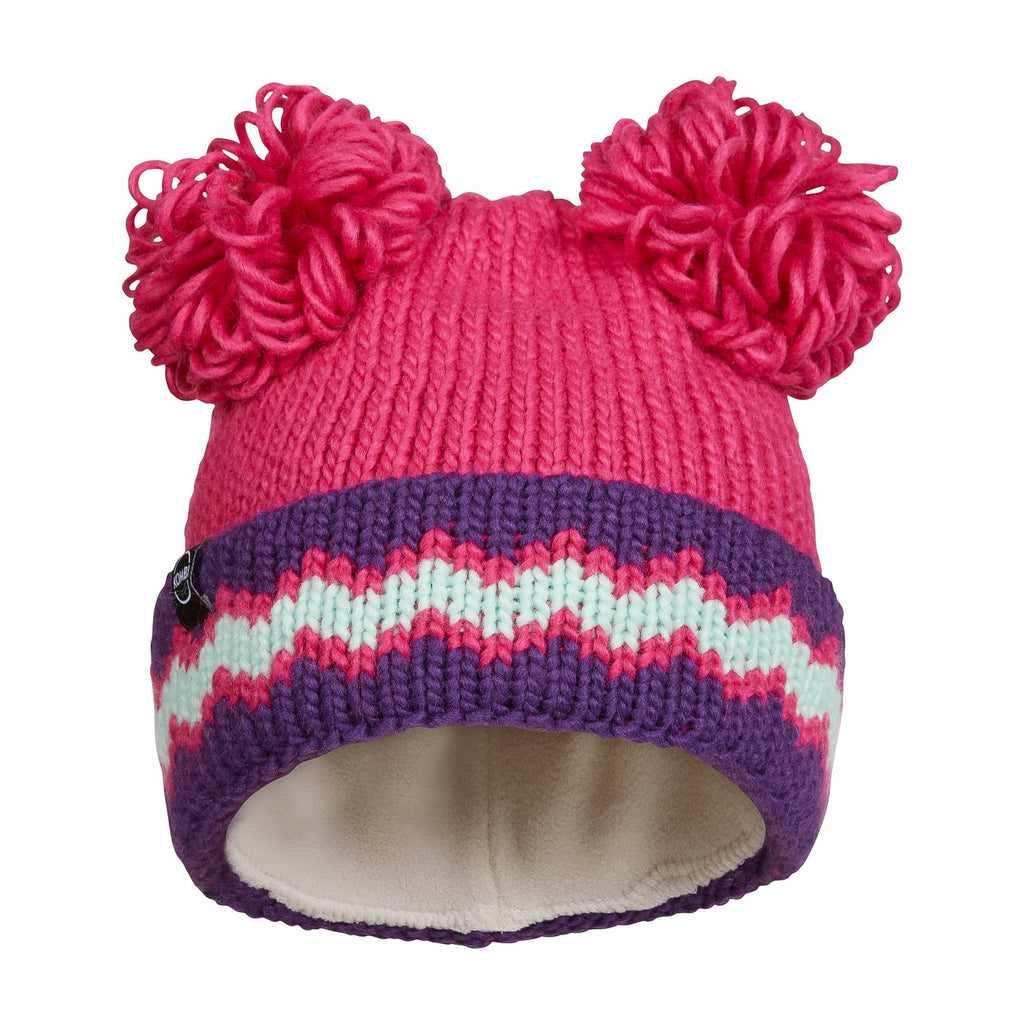 kombi the adorable childrens pom pom toque beanie hat bright pink