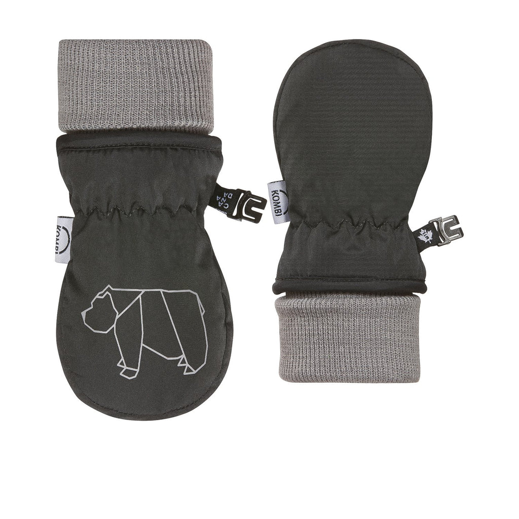 kombi the baby animal foldable cuff infant mittens asphalt bear