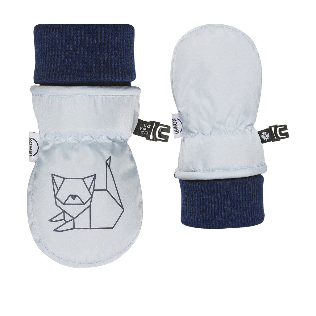 kombi the baby animal foldable cuff infant mittens ballad blue fox