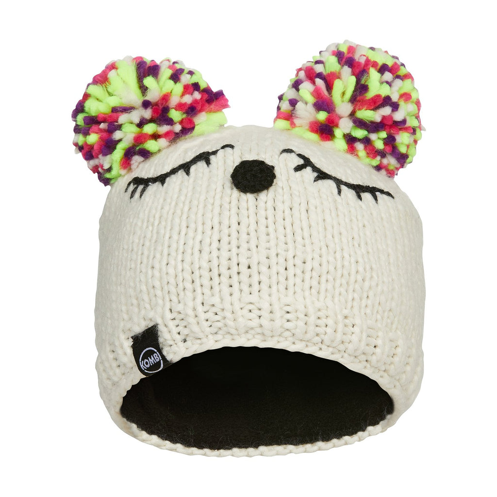 kombi the little dreamer childrens pom pom toque beanie hat cream
