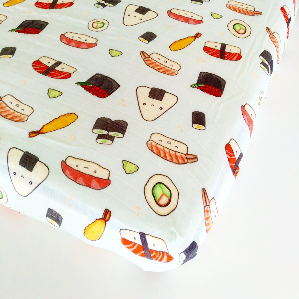 Luxe Muslin Fitted Crib Sheet - Sushi