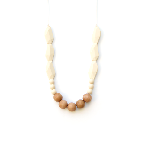 loulou lollipop joan wood and silicone teething necklace cream