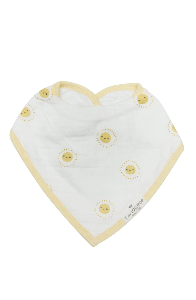 loulou lollipop luxe muslin bandana bib set breakfast blue