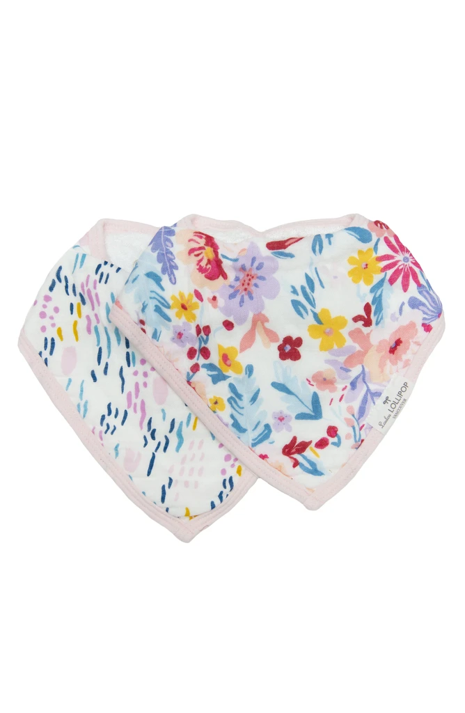 loulou lollipop luxe muslin bandana bib set light field flowers