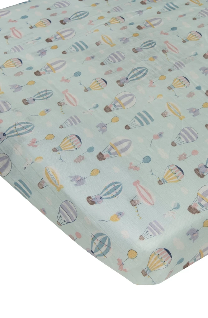 loulou lollipop luxe muslin crib sheet up up away