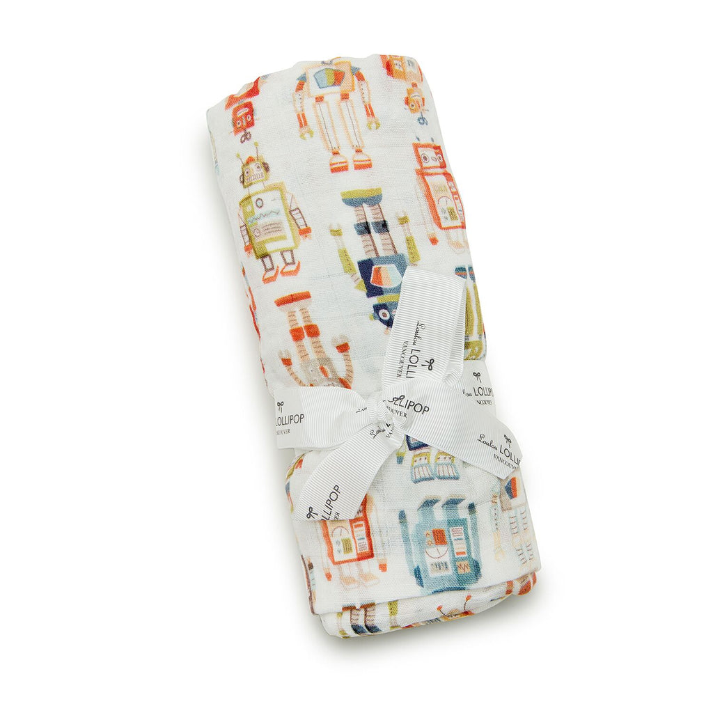 loulou lollipop luxe muslin swaddle vintage robots packaging