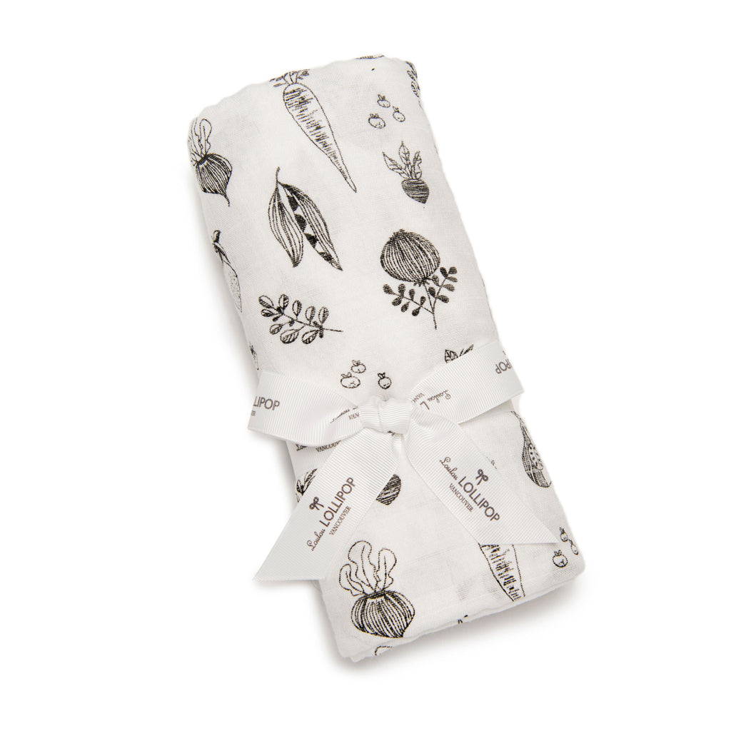 loulou lollipop luxe muslin swaddle eat your veggies packaging