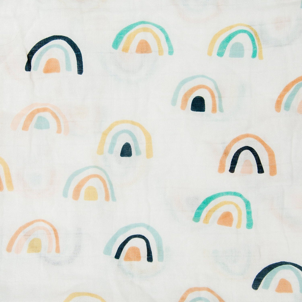 Luxe Muslin Swaddle - Neutral Rainbow