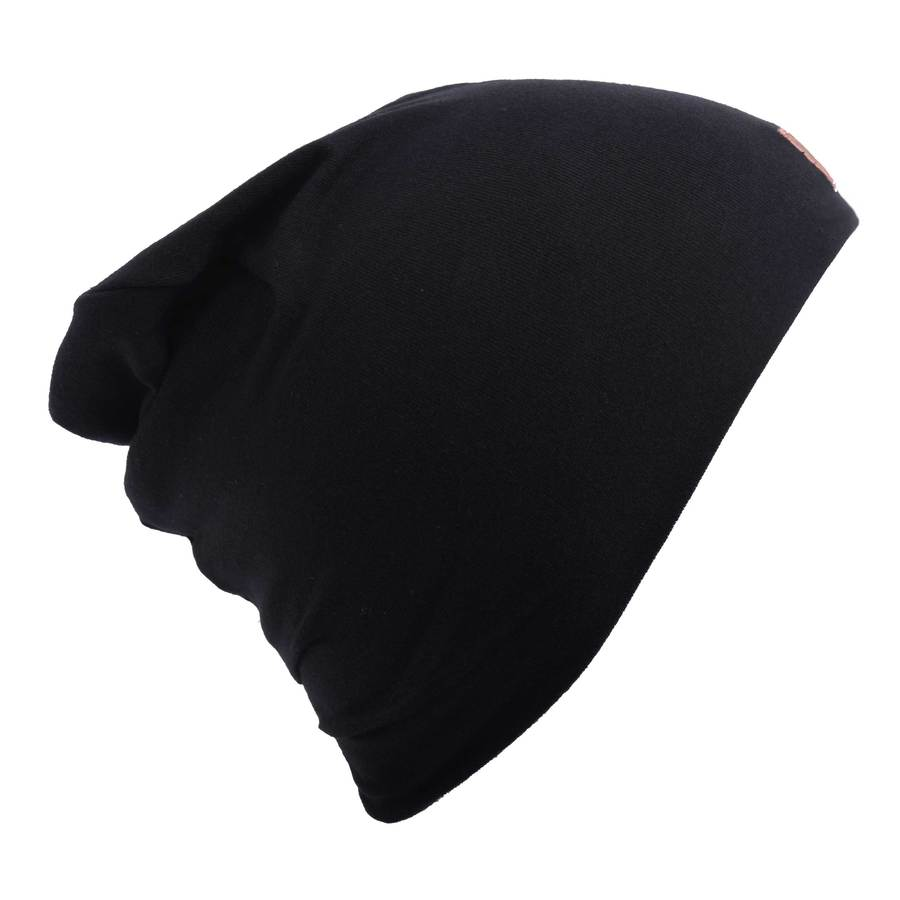 Cotton Slouch Beanie - Black