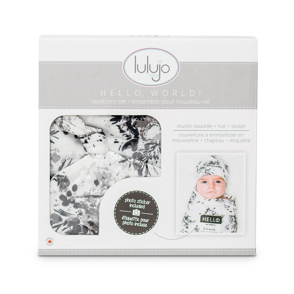 lulujo hello world knotted hat swaddle gift set black floral
