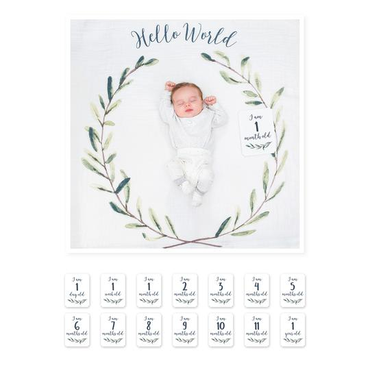 Baby's First Year Milestone Cards and Blanket Set - Hello World Wreath