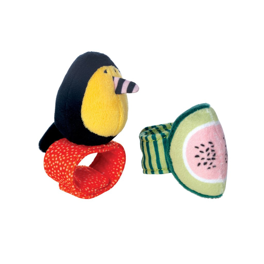 manhattan toy fruity paws wrist rattle set