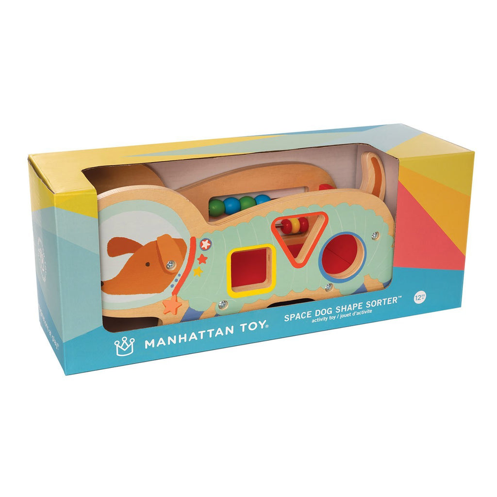 manhattan toy wood shape sorter space dog packaging