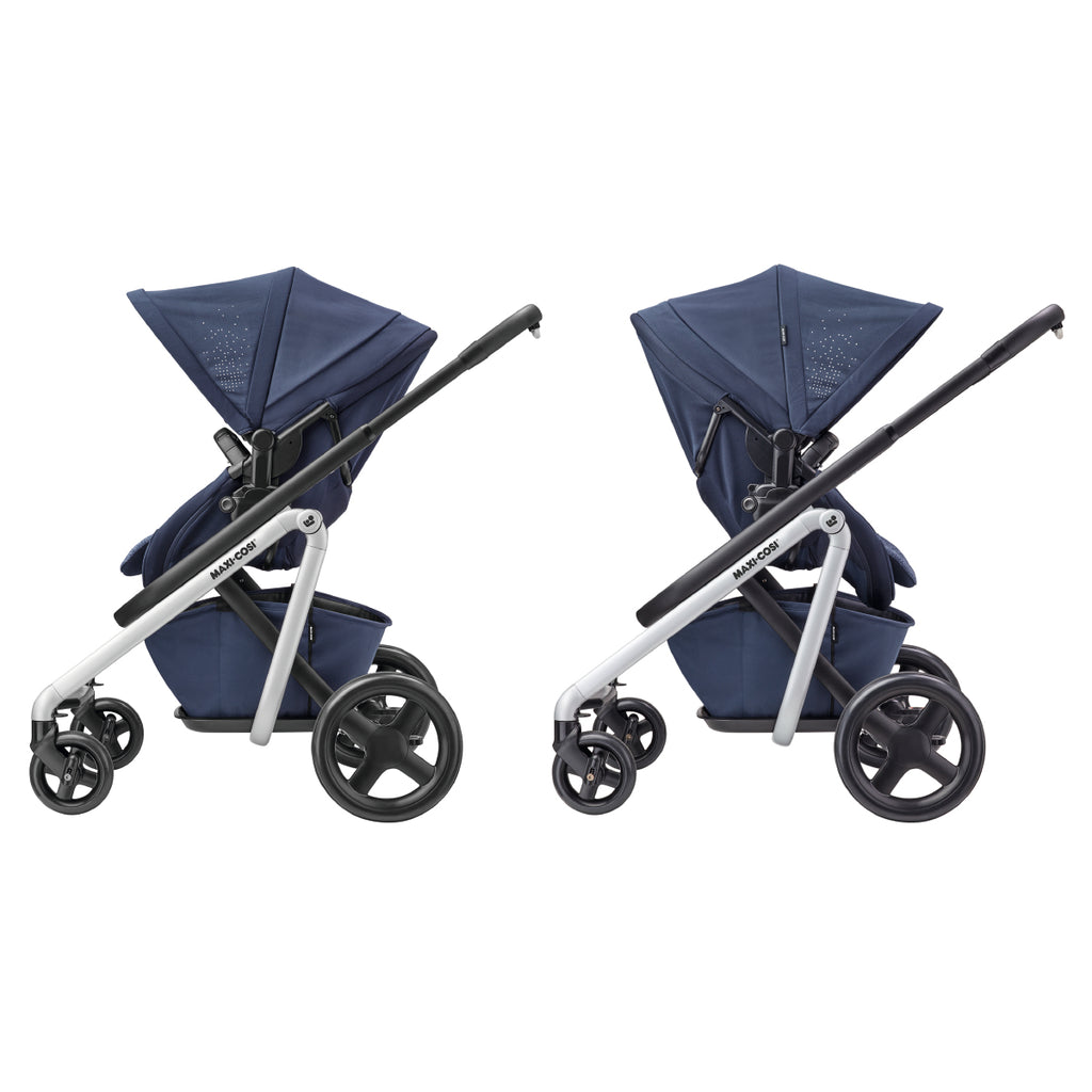 maxi-cosi lila stroller nomad blue forward rear