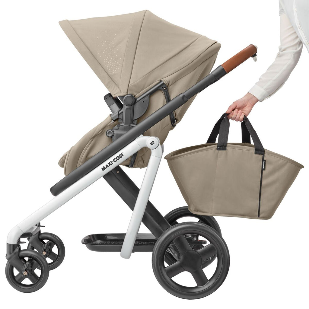 maxi-cosi lila stroller nomad sand tote bag basket