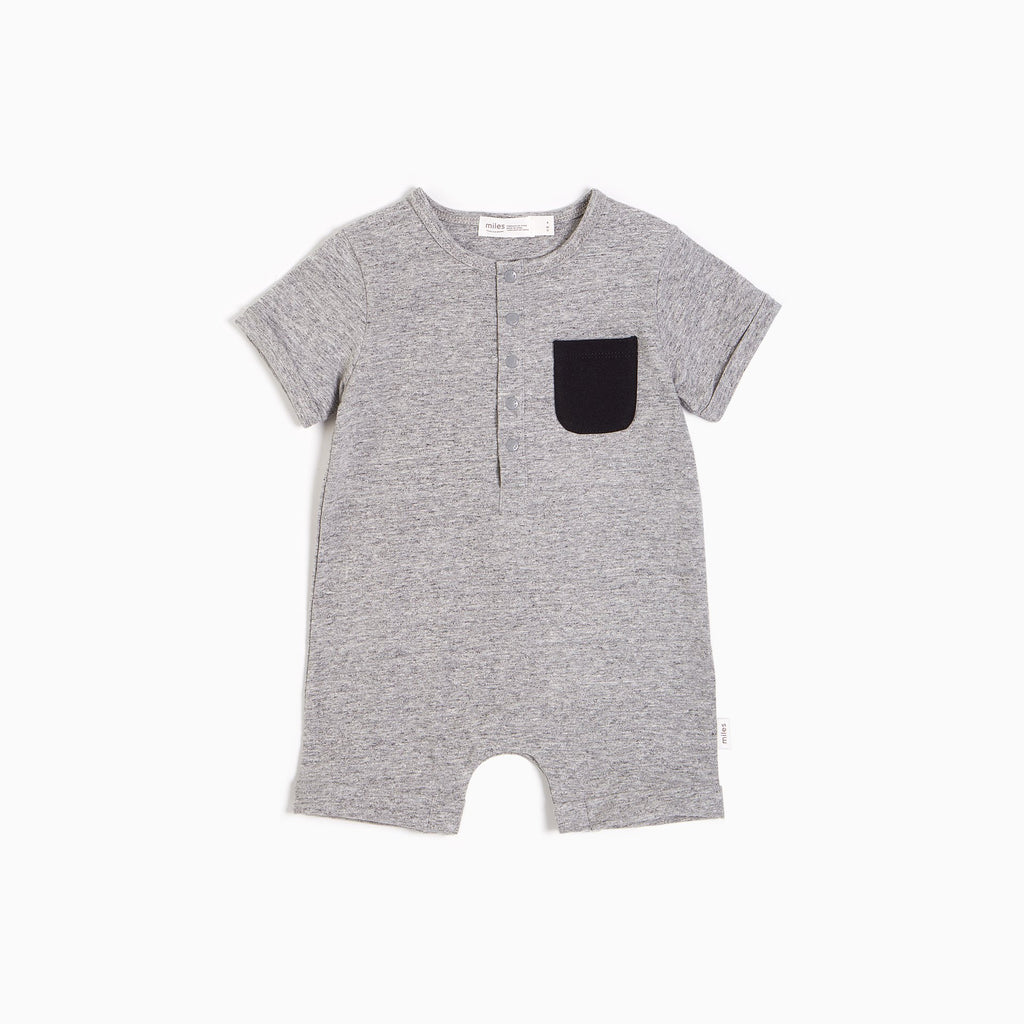 Everyday Short Sleeve Romper - Heather Grey