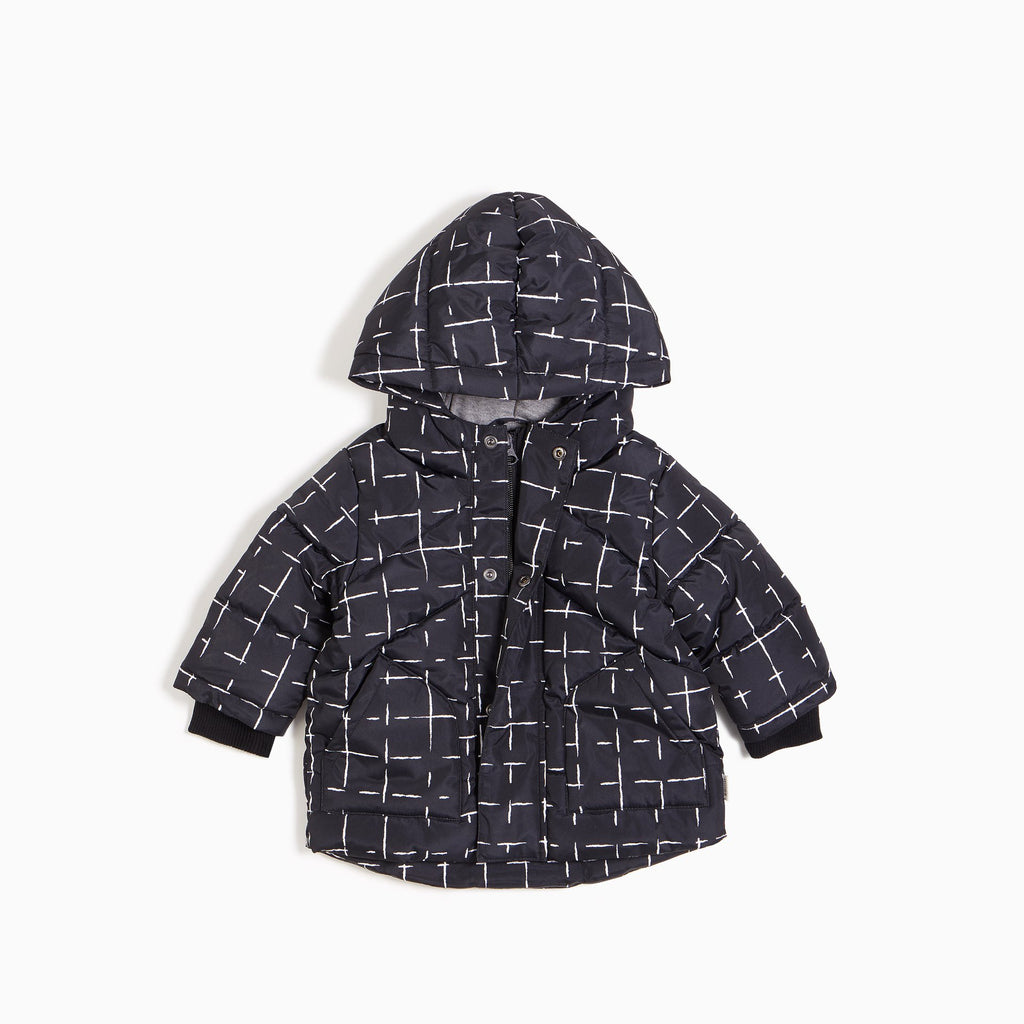 Hooded Puffer Jacket - Black Grid