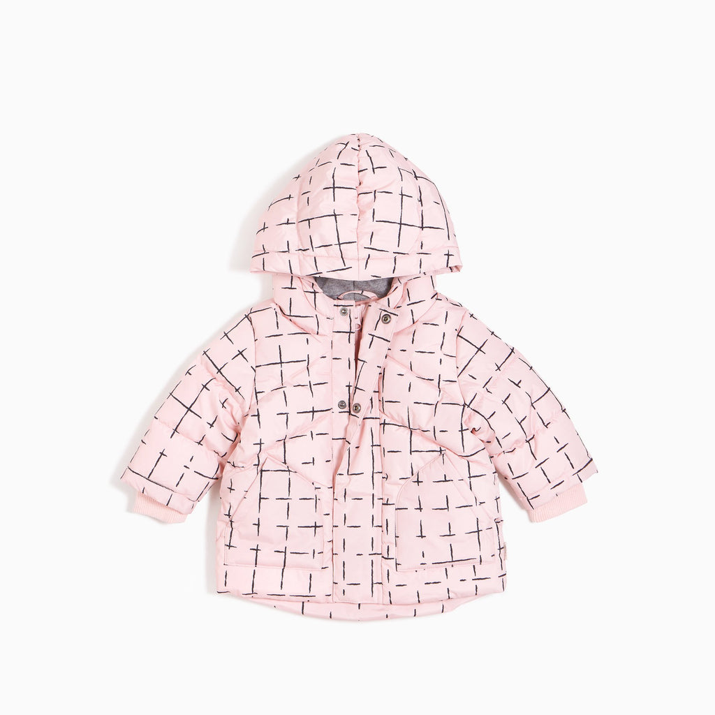 Hooded Puffer Jacket - Pink Grid