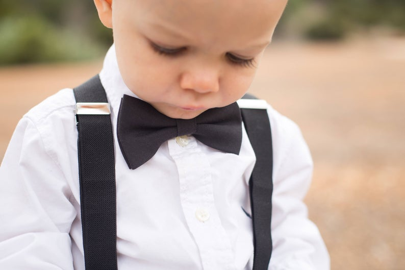 Solid Black Bowtie & Suspenders