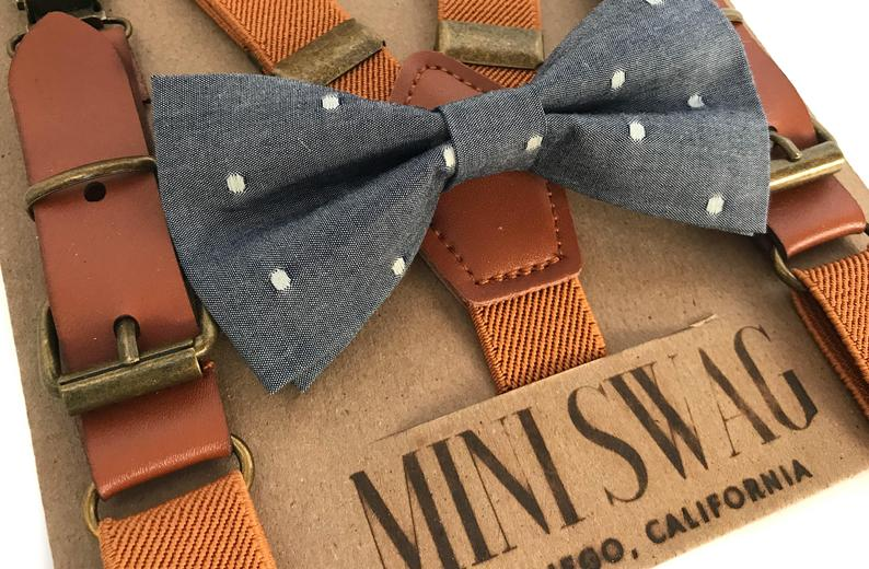 Chambray Dot Bowtie & Camel Leather Suspenders