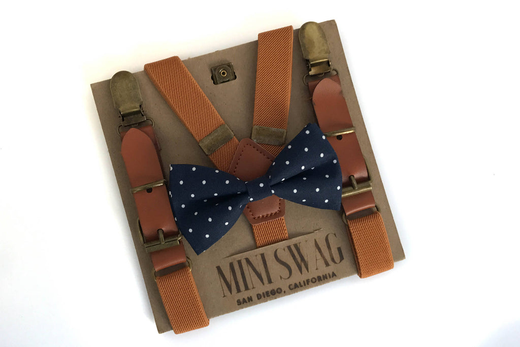 Navy Dot Bowtie & Camel Leather Suspenders