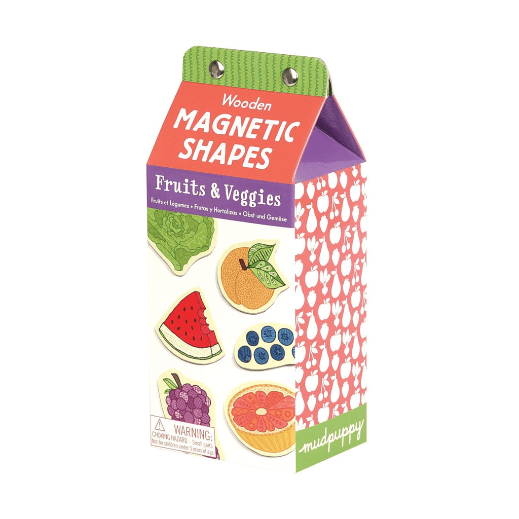 mudpuppy fruit & veggies wooden magnetic shapes