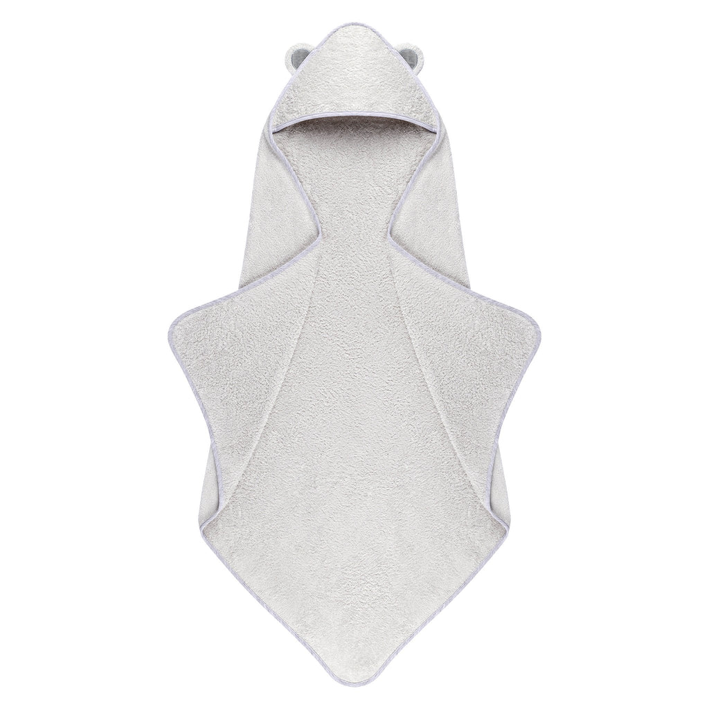 natemia extra soft baby bamboo hooded towel grey