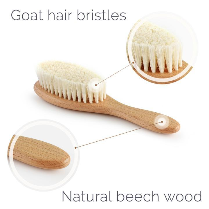 natemia natural wooden baby brush and comb set