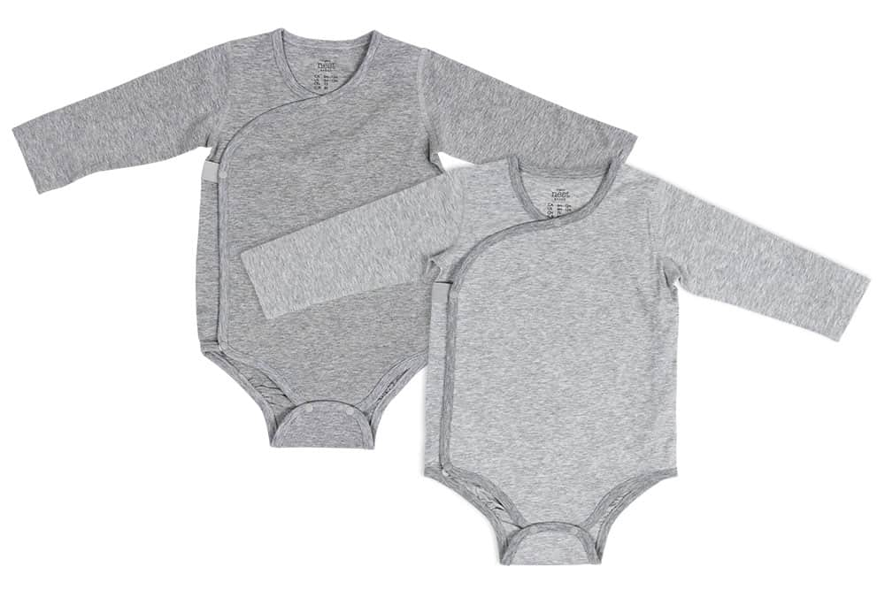 Organic Cotton Long Sleeve Kimono Onesie (2pk) - Striped & Light Grey