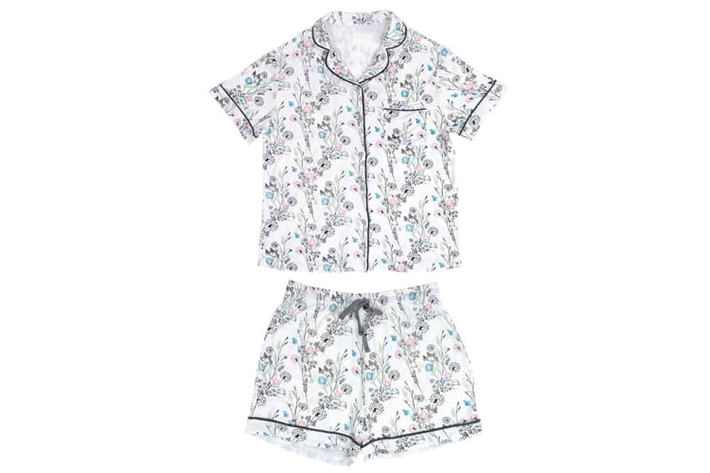 nest designs womens two piece bamboo jersey short sleebe button up pj set meadow
