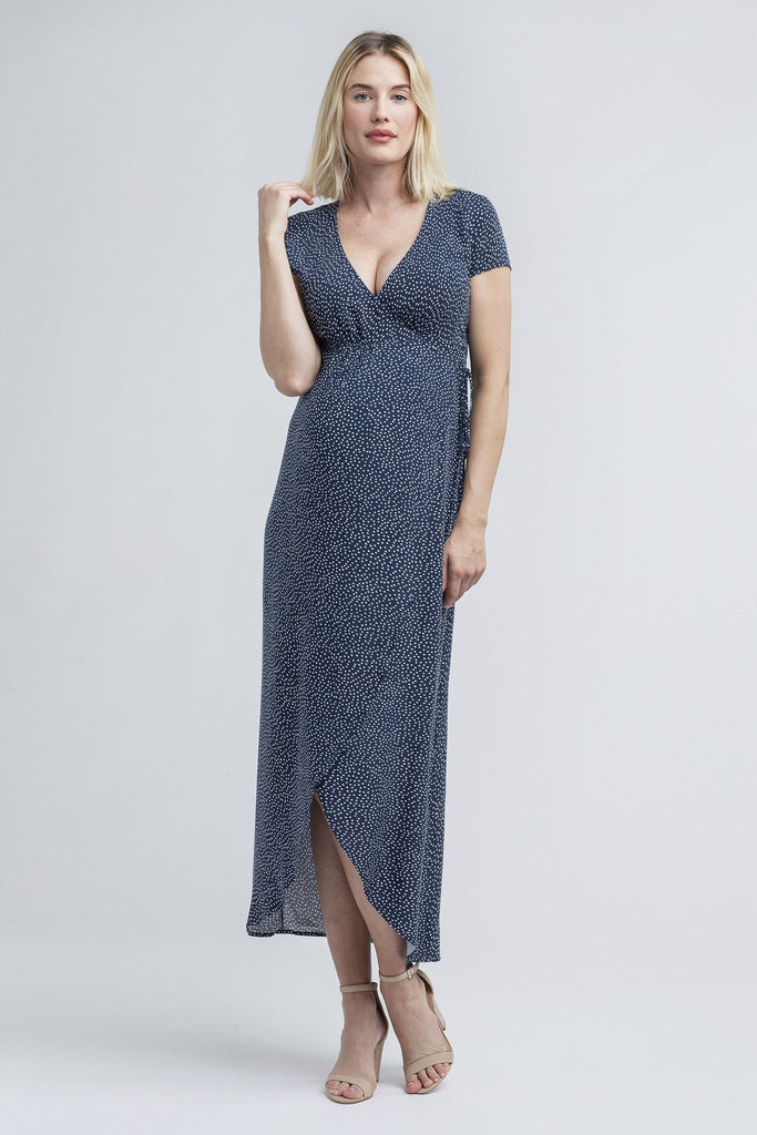 nom maternity delilah wrap maxi dress navy dot
