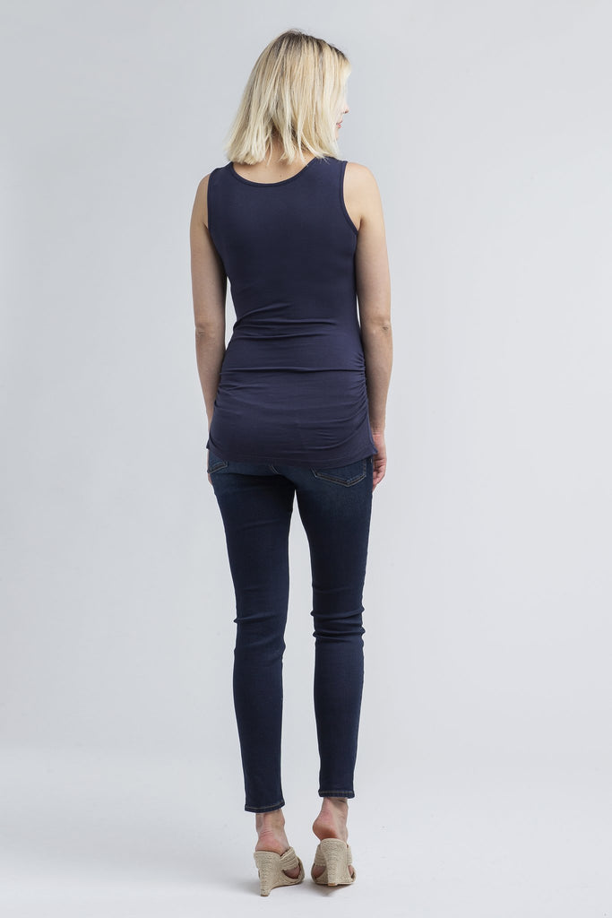 nom maternity during & after snap tank navy