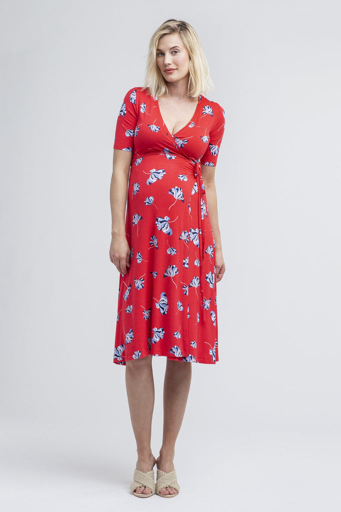 nom maternity maya during & after wrap dress poppy
