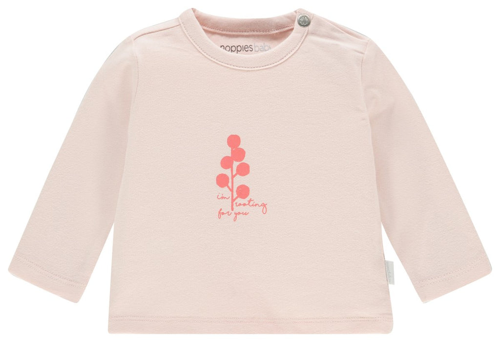 noppies long sleeve tee cayce peach blush front