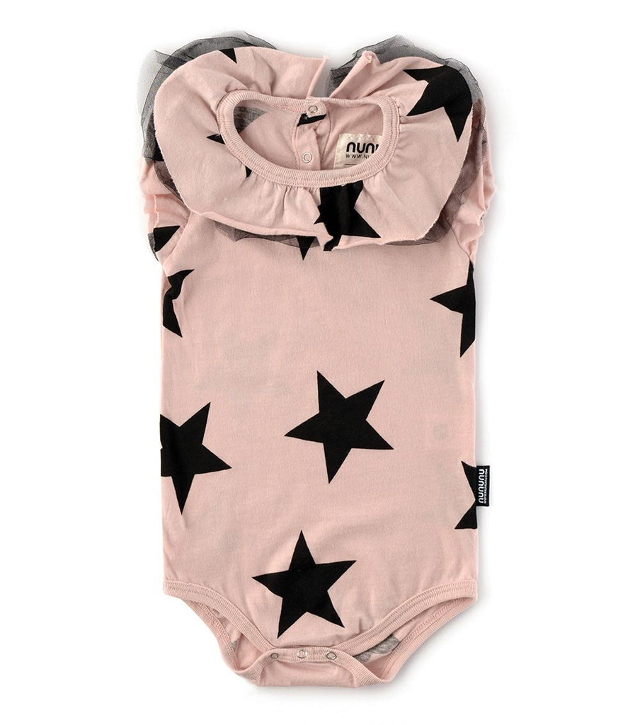 nununu ruffled star onesie powder pink
