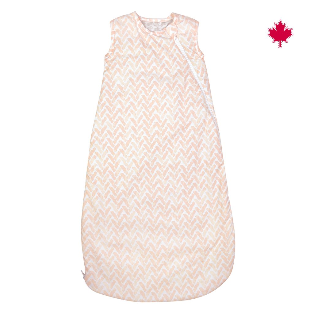Woven Cotton Quilted Sleep Bag (2.0 tog) - Pink Chevrons