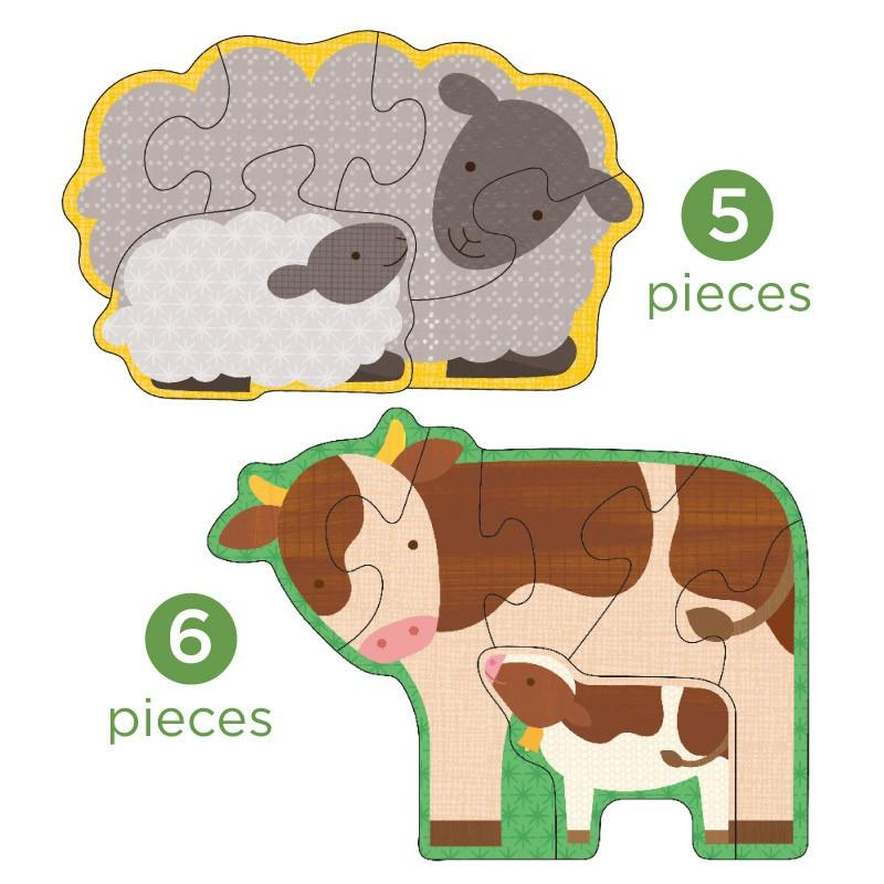 petit collage beginner puzzle farm babies 5 pieces 6 pieces