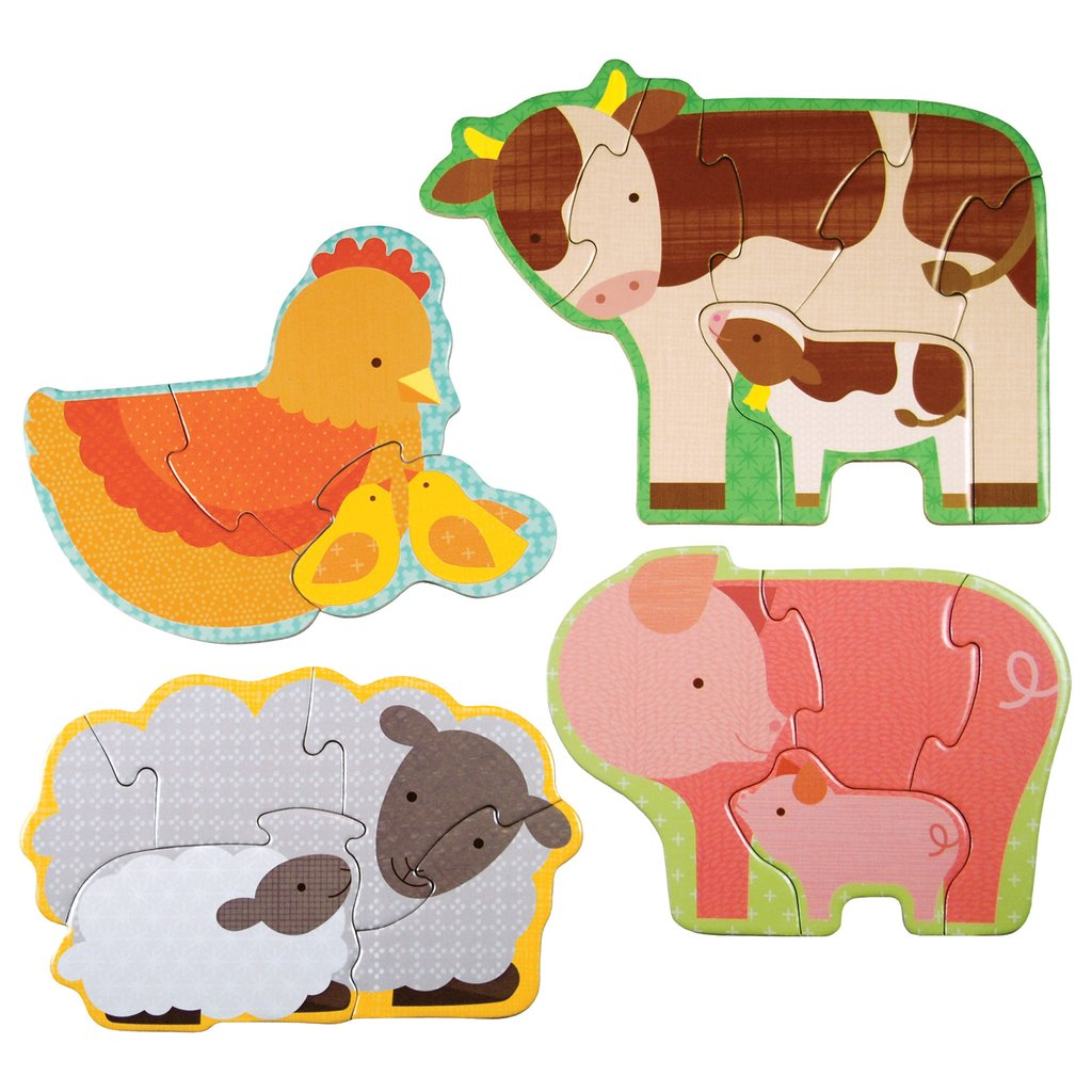 petit collage beginner puzzle farm babies